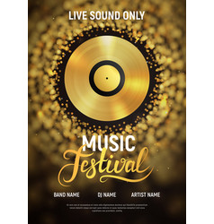 music festival poster template musical invitation vector image
