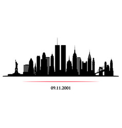new york city skyline with twin towers world vector image