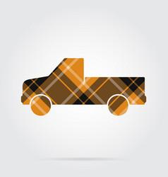 orange black tartan icon - pickup with a flatbed vector image