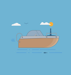 orange boat in flat style on sea vector image