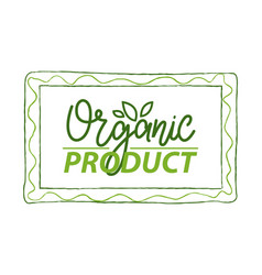 organic product simple label in rectangular frame vector image