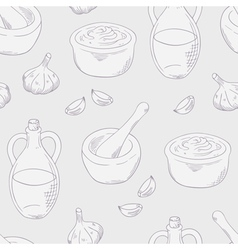 Outline aioli sauce seamless pattern background vector image