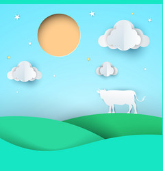Paper origami style cow meadow sun cloud vector