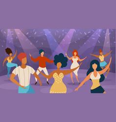 people dance floor happy women and men dancing on vector image