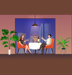 people in restaurant loving couple man and vector image