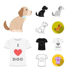 pet dog cartoonblackflatmonochromeoutline vector image