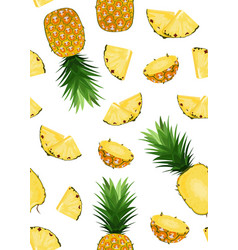 Pineapple fruits and slice seamless pattern vector