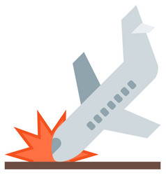 Plane crash aircraft accident icon isolated vector