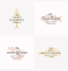 premium fish and seafood abstract signs vector image