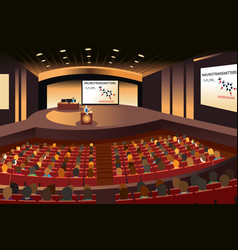 presentation in a conference in an auditorium vector image