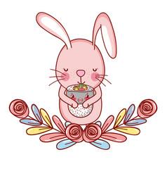Rabbit with sushi kawaii vector