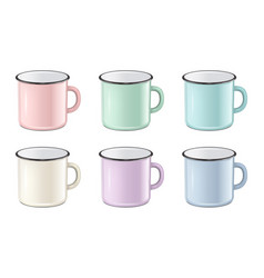 realistic enamel metal in pastel colors - vector image