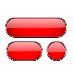 red glass buttons with chrome frame 3d icons vector image
