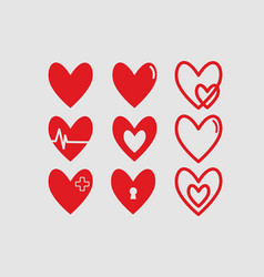 Red hearts logotypes set linear icons vector