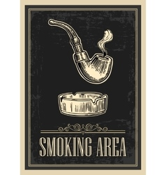 Retro poster - the sign smoking area in vintage vector
