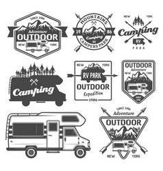Rv camping outdoor recreation emblems vector