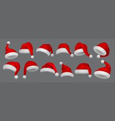 santa claus hat realistic christmas and new year vector image