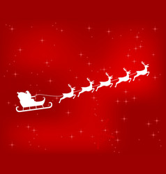 santa claus riding reindeer on a red shiny vector image