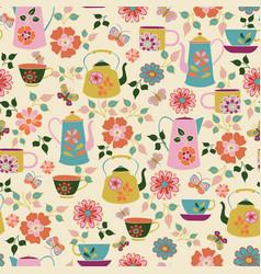 seamless garden tea party pattern vector image