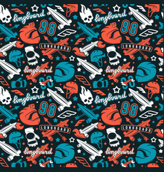 Seamless pattern with image of longboarding vector