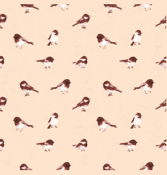 Seamless pattern with little birds haned drawn vector