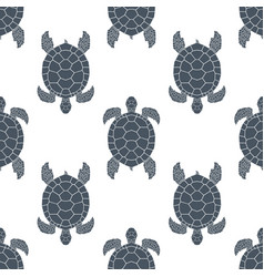 Seamless pattern with sea turtles cheloniidae vector