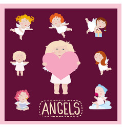 set of cute litle baby angels in flat style vector image
