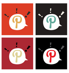 Set of flat icon of pinterest on background with vector