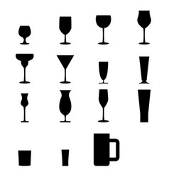 Set of silhouette glass icons vector