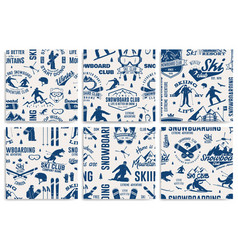 Set of ski and snowboard club seamless pattern vector