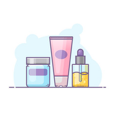 set of skin care bottles vector image