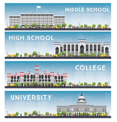 set of university high school and college study vector image