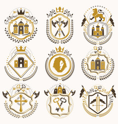 Set of vintage elements heraldry labels stylized vector