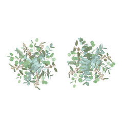 Set wedding bouquets elegant floral greenery vector