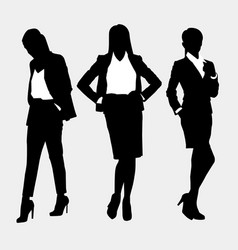 set with three women on a gray background vector image