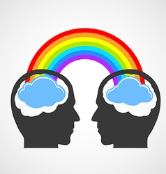 Silhouette of a mans head with a rainbow and vector