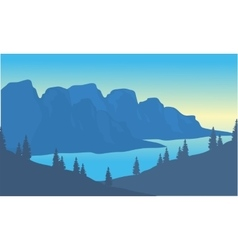 Silhouette of river and mountain background vector image