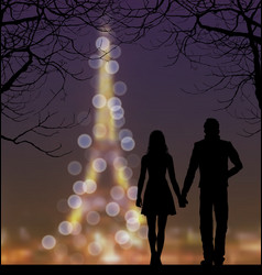 silhouettes couple against eiffel tower and vector image