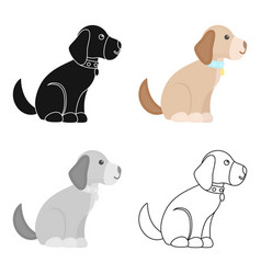 Sitting dog icon in cartoon style for web vector