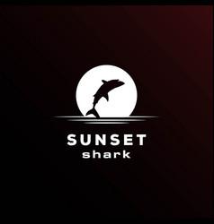sunset sunrise moon night jumping fish wild shark vector image