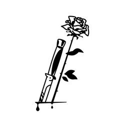 tattoo knife and rose vintage tattoo in the vector image