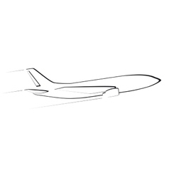 The contour of the modern jet aircraft Side view vector