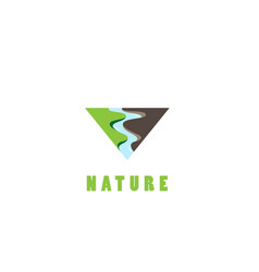 triangle nature river logo design vector image