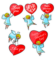 valentines day angels set with cute hand drawn vector image