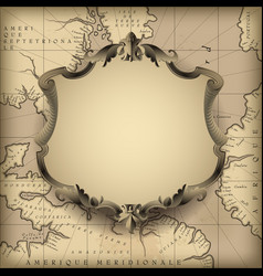 Vintage decorative frame against old geographic vector