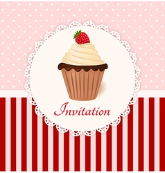 Vintage invitation card with strawberry cream cake vector image