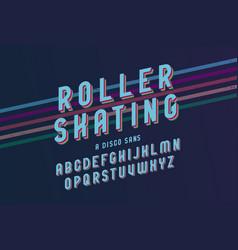 Vintage roller skating font vector