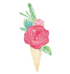 Watercolor Flower Bouquet Cone Vase Set vector image