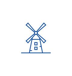 windmill line icon concept windmill vector image