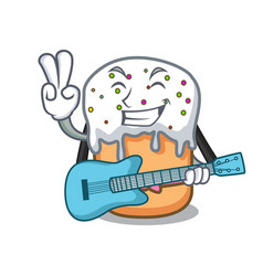 with guitar easter cake mascot cartoon vector image
